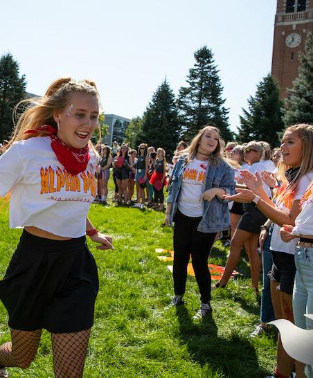 University of Northern Iowa sorority celebrating on campus