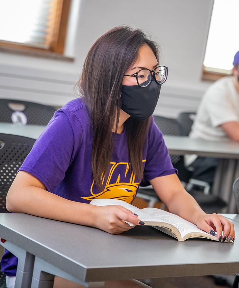 University of Northern Iowa student in class wearing a mask