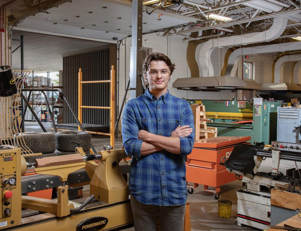 University of Northern Iowa student working in technology lab