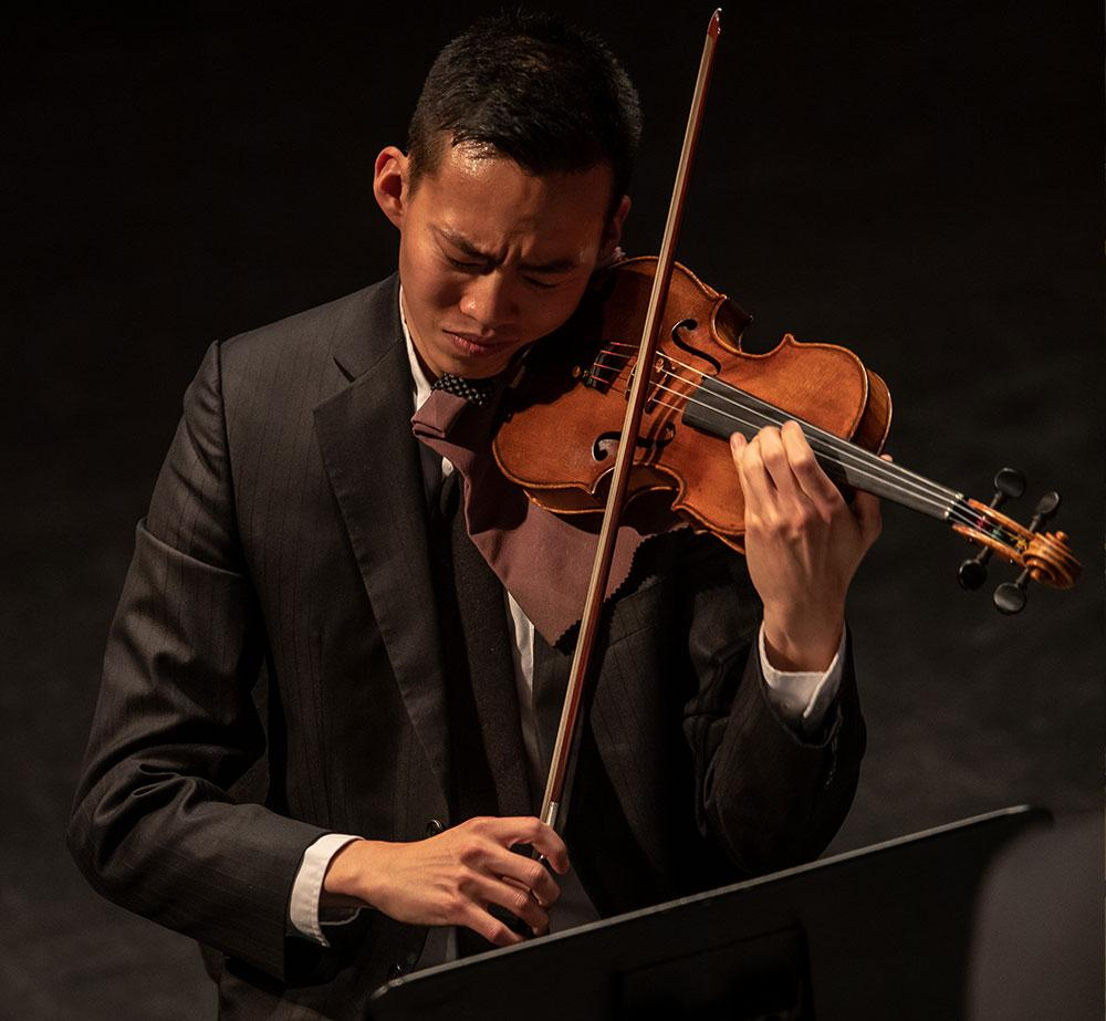 Cedar Falls Symphony player performing at Gallagher-Bluedorn Performing Art Center