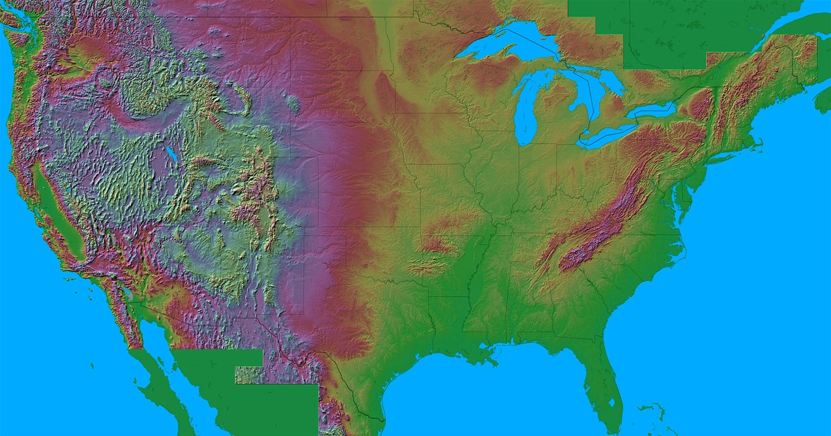 Altitude Map Us - Us states by elevation
