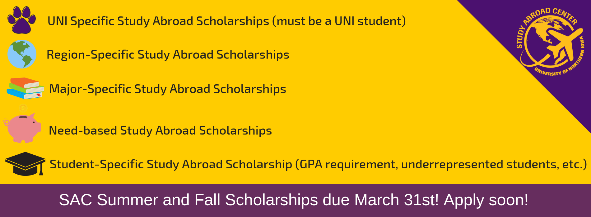 SAC Summer and Fall Scholarships due March 31st! Apply soon!
