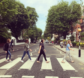 Students crossing Abby Road in London