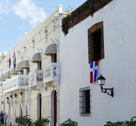 Street of white houses