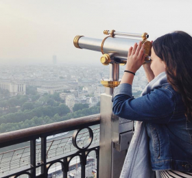 Student on the Eiffel Tower