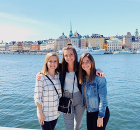 UNI students with Stockholm skyline in background