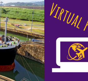 Virtual program in text alongside a photo of a ship going through the Panama canal