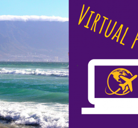 "Picture of Table Mountain in Cape Town, South Africa, next to the text ""Virtual Program"""
