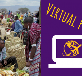 "Market in Kenya picture with text ""Virtual Program"""