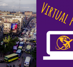 "Picture of busy street in Kenya with text ""Virtual Program"""