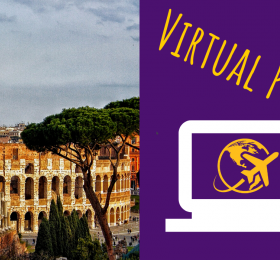 "Picture of Colosseum and Forum in Rome with text ""Virtual Program!"""