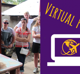 """""""Virtual program"""" text with photo of someone in Nicaragua working with clay"""