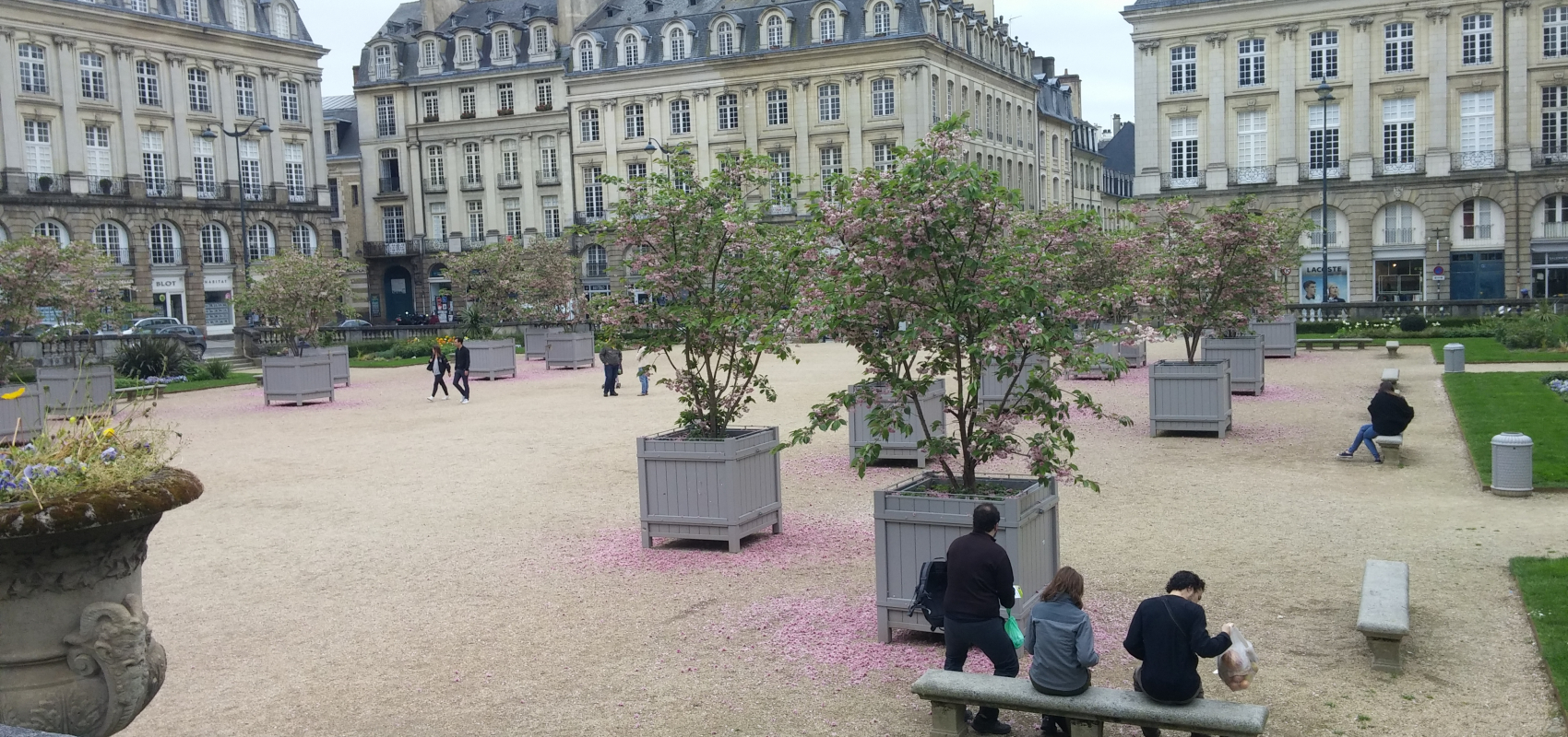 Downtown Rennes, square in Spring