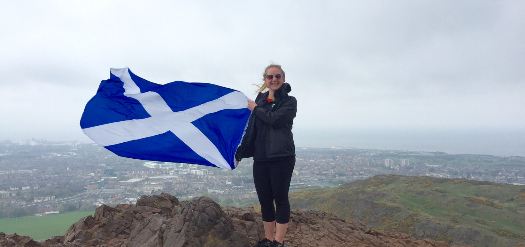 Emily with Scottish Flag