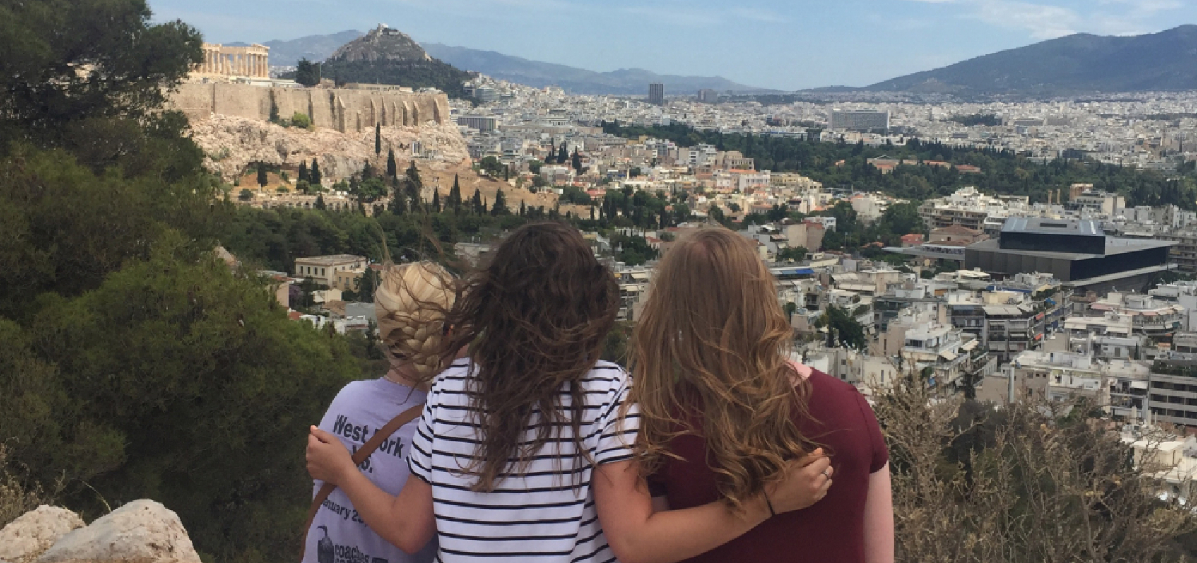 Students overlooking Athens