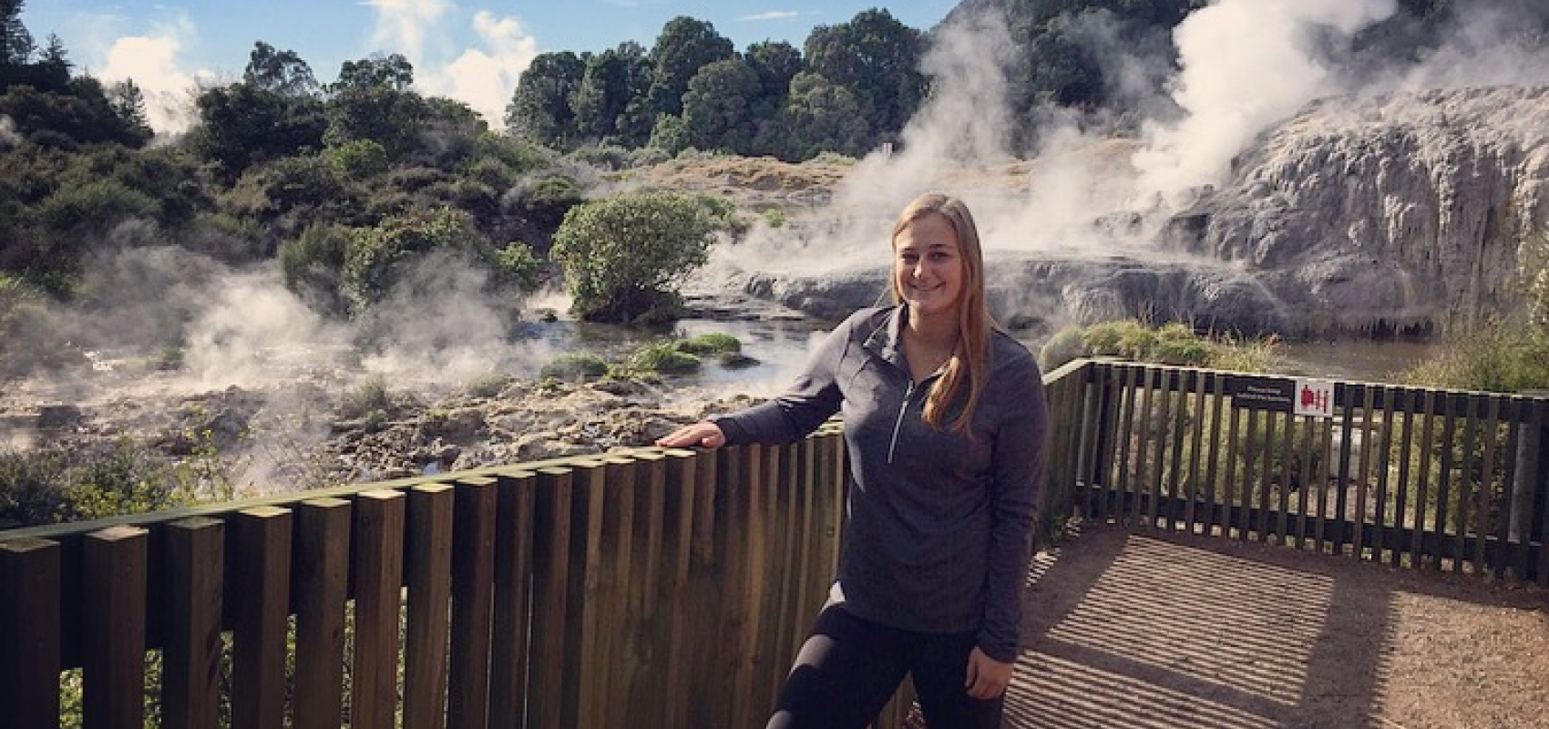 UNI student at geothermal site on North Island