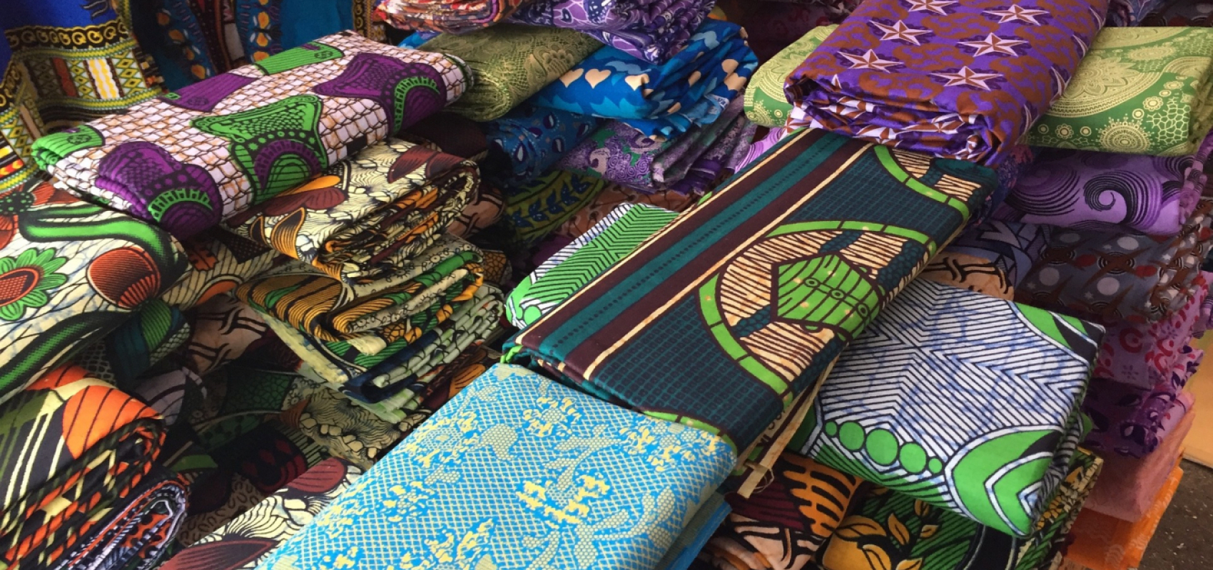 Textiles for sale in market