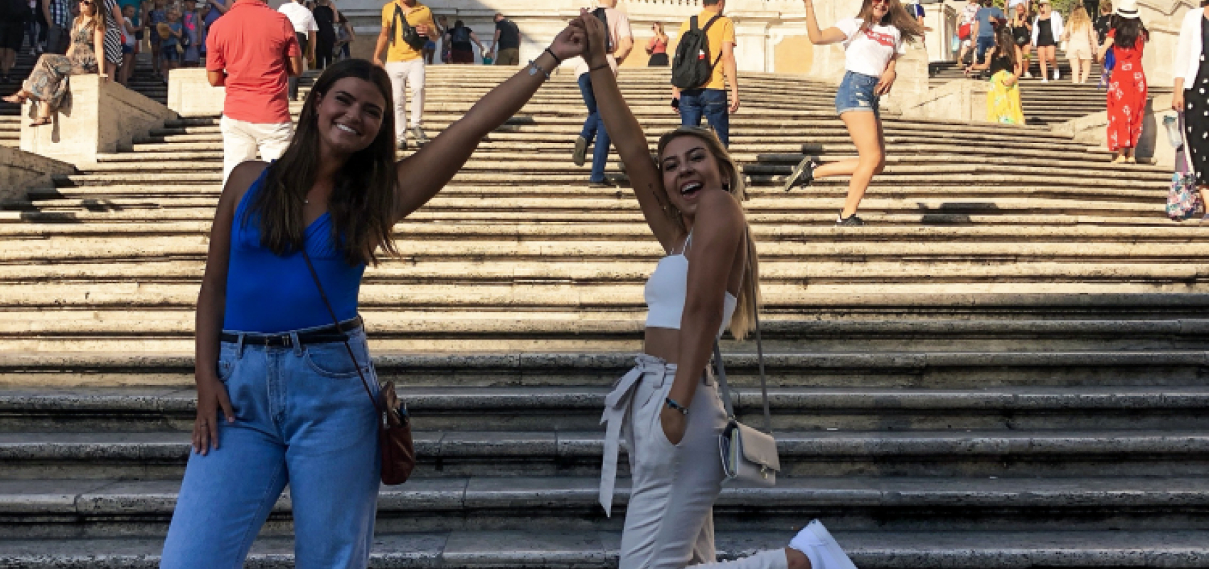 Students on steps in Rome