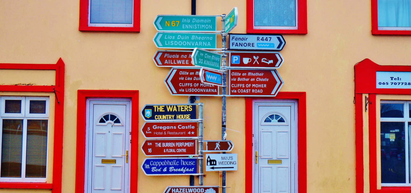 Colorful street sign in Galway