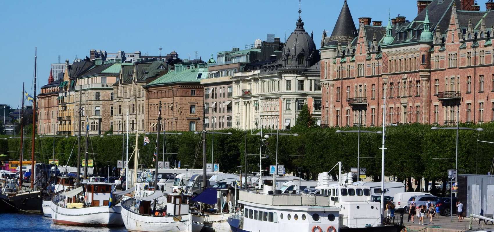 Boats docked in Stockholm
